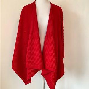 Giorgio Armani Red Rib Knit Shawl Wrap